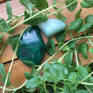 mint and green crystals
